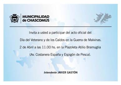 Chascomús: Este sábado se realizará el Acto oficial del Día del Veterano y de los Caídos en la Guerra de Malvinas