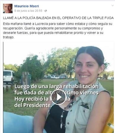 Macri llamó a teléfono a Lucrecia Yudati