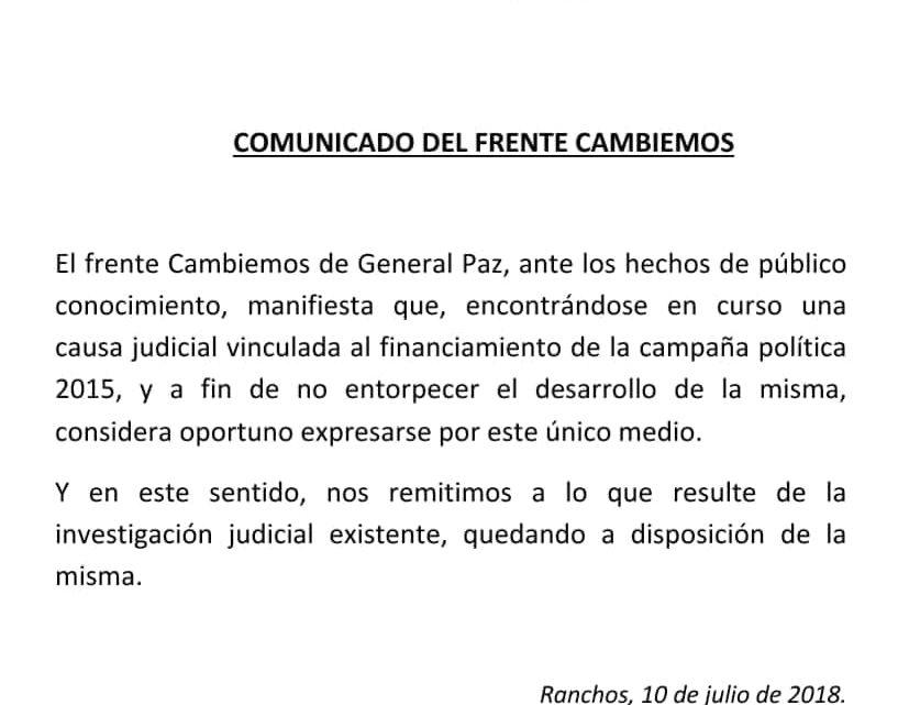 GENERAL PAZ: COMUNICADO DEL FRENTE CAMBIEMOS