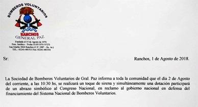 Bomberos Voluntarios: Toque de sirena y abrazo simbólico al Congreso Nacional