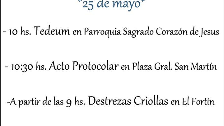 Cronograma del acto protocolar por los festejos del 25 de mayo en PILA