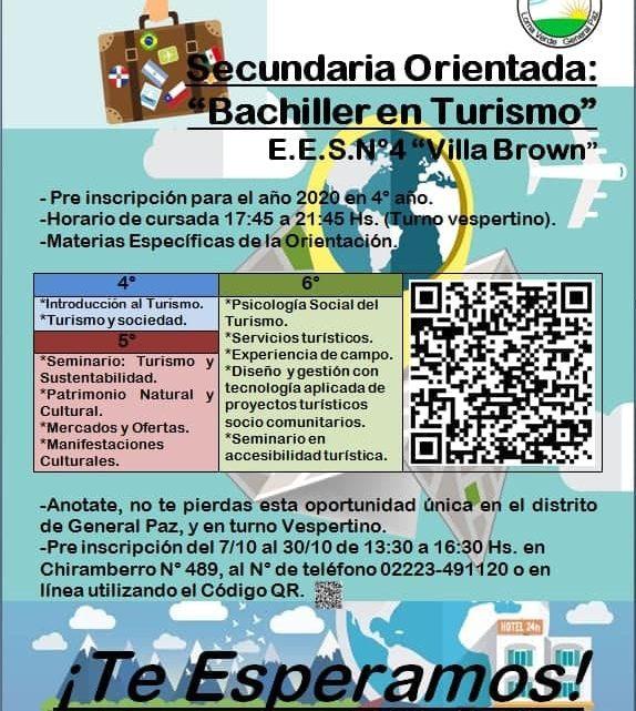 General Paz: Nueva Orientacion de Bachiller en Turismo